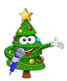 Gelukkige die Kerstmis of Kerstmiskaraktermascotte het spreken microfoon op de witte van de het symboolvoorraad van de beeldverha royalty-vrije illustratie