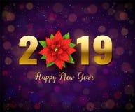 2019 Gelukkige die Nieuwjaaraffiche met realistische die Poinsettiabloem wordt verfraaid op ultraviolette het fonkelen achtergron stock afbeelding