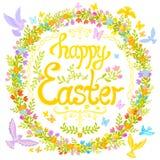 Gelukkige die Pasen - cirkel met bloemen, kleine vogels wordt verfraaid vector illustratie
