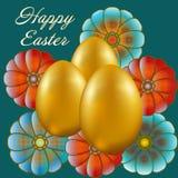 Gelukkige die Pasen op blauwe achtergrond wordt geïsoleerd vector illustratie