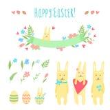 Gelukkige die Pasen-vector met konijntjes wordt geplaatst Stock Afbeelding