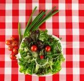 Gelukkige die salade, gezicht met gezonde organische groenten wordt gemaakt Royalty-vrije Stock Foto's