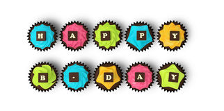 Gelukkige die Verjaardag cupcakes op witte achtergrond wordt geïsoleerd Stock Foto's