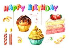 Gelukkige die Verjaardag met het van letters voorzien, cake en kaars wordt geplaatst Waterverfhand getrokken die illustratie, op  Stock Afbeeldingen