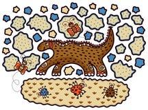 Gelukkige dinosaurus, lieveheersbeestjes en vlinders vector illustratie