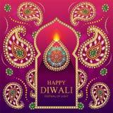 Gelukkige Diwali-festivalkaart Stock Afbeelding