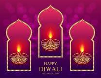 Gelukkige Diwali-festivalkaart Royalty-vrije Stock Afbeeldingen