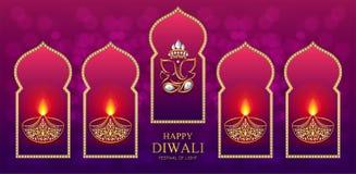Gelukkige Diwali-festivalkaart Royalty-vrije Stock Afbeelding