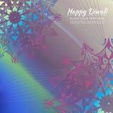 Gelukkige Diwali-uitnodigingskaart Vectormandala op calorful beckground Stock Afbeeldingen