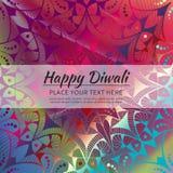 Gelukkige Diwali-uitnodigingskaart Vectormandala op calorful beckground Stock Afbeelding