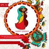 Gelukkige diwalikaart met het ornament van Paisley en leuke Indische vrouw Stock Afbeelding