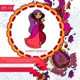 Gelukkige diwalikaart met het ornament van Paisley en leuke Indische vrouw Stock Afbeeldingen