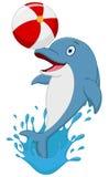 Gelukkige dolfijnbeeldverhaal het spelen bal stock illustratie