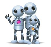 Gelukkige droid weinig robotfamilie op geïsoleerd wit Royalty-vrije Stock Afbeeldingen