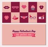 Gelukkige dubbele zij de groetkaart van de Valentijnskaartendag in vector stock illustratie