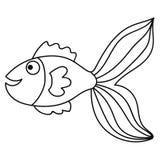 Gelukkige dunne de krabbelvissen van het lijn leuke beeldverhaal Hand getrokken vrolijk tropisch aquariumdier vector illustratie