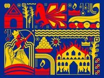 Gelukkige Durga Puja-festival achtergrondkitschkunst India Stock Foto