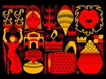 Gelukkige Durga Puja-festival achtergrondkitschkunst India Stock Fotografie