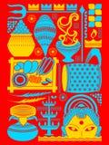 Gelukkige Durga Puja-festival achtergrondkitschkunst India Royalty-vrije Stock Afbeeldingen