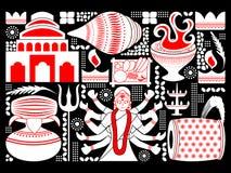 Gelukkige Durga Puja-festival achtergrondkitschkunst India Royalty-vrije Stock Foto