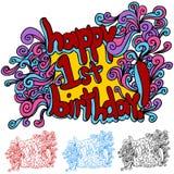 Gelukkige Eerste Verjaardag royalty-vrije illustratie