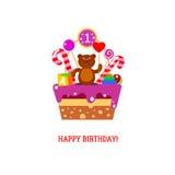 Gelukkige Eerste Verjaardagscake met beer Royalty-vrije Stock Afbeeldingen