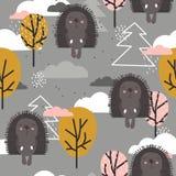 Gelukkige egels, bomen, decoratieve leuke achtergrond Kleurrijk Naadloos Patroon met Dieren vector illustratie