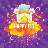 Gelukkige eid met moskee en ornamentillustratie vector illustratie