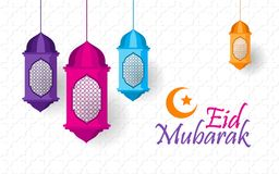 Gelukkige Eid Mubarak met lantaarn en ornament royalty-vrije stock afbeeldingen
