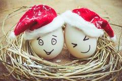Gelukkige eieren met geschilderde gezichten in het nest voor Kerstmis Stock Foto