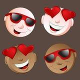 Gelukkige Emoji-Gezichtsreeks Stock Foto's