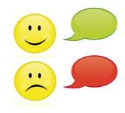 Gelukkige en droevige emoticon stock illustratie