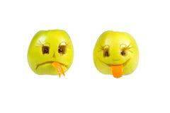 Gelukkige en droevige emoticons van appelen Gevoel, houdingen stock afbeeldingen