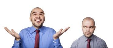 Gelukkige en gefrustreerde zakenlieden Stock Foto's