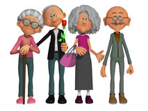 Gelukkige en gemotiveerde oude 3d mensen Stock Foto