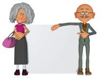 Gelukkige en gemotiveerde oude mensen met 3d aanplakbiljet Stock Afbeeldingen