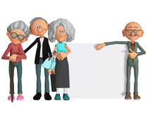 Gelukkige en gemotiveerde oude mensen met 3d aanplakbiljet Royalty-vrije Stock Afbeeldingen