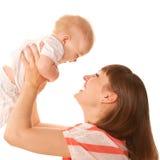 Gelukkige en moeder en baby die spelen lachen. Royalty-vrije Stock Afbeeldingen