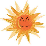 Gelukkige en mooie zon Stock Illustratie