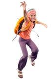 Gelukkige, en schoolmeisje of reiziger die lopen springen uitoefenen royalty-vrije stock afbeelding