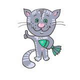 Gelukkige en vrolijke kat gevangen vissen Royalty-vrije Stock Fotografie
