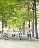 Gelukkige familie berijdende fiets Stock Fotografie
