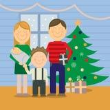 Gelukkige familie bij Kerstmis, groetkaart Stock Fotografie