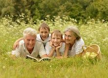 Gelukkige familie in bos Royalty-vrije Stock Foto