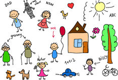Gelukkige familie, de tekening van kinderen, vector Royalty-vrije Stock Foto's