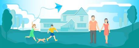 Gelukkige familie dichtbij hun huis vector illustratie