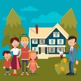 Gelukkige Familie die een Nieuw Huis kopen Stock Foto's