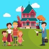 Gelukkige Familie die een Nieuw Huis kopen Makelaar in onroerend goed met Sleutels van Huis Vector Stock Afbeeldingen