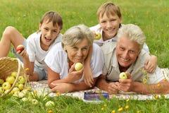Gelukkige familie die hebben Stock Foto's