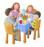 Gelukkige familie die ontbijt eten royalty-vrije illustratie
